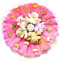 Букет из игрушек с медвежатами и бомбочкой для ванны